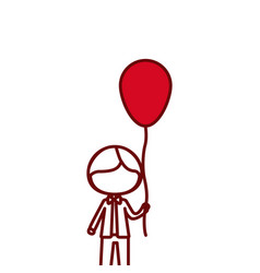 Red silhouette of caricature of faceless kid with vector