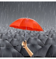 Red Umbrella Under Rain vector image