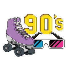 Roller skate with glasses nineties retro style vector