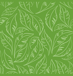 seamless pattern green leaves vector image