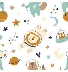 seamless pattern with animals and space elements vector image