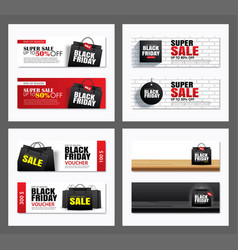 set black friday sale shopping bag cover and vector image