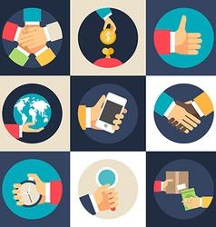 set flat design business icons teamwork vector image
