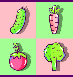 Set of fresh and healthy organic vegetables vector