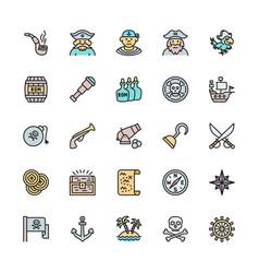 set pirates flat color line icons sailor vector image