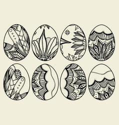 sketch ornate easter eggs vector image