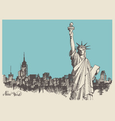 sketch statue liberty and panorama vector image