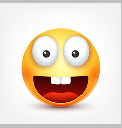 Smileysmiling happy emoticon with teeth yellow vector