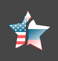 Star with usa and russia flags vector