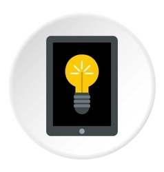 Tablet with light bulb icon flat style vector image