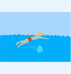 the man was stung by a jellyfish in the sea vector image
