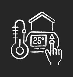 Thermostat setting chalk white icon on black vector