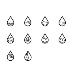 Thin line water icon set vector