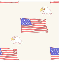 usa flag bald american eagle mascot pattern vector image