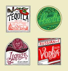 vintage american absinthe tequila vodka liqueur vector image