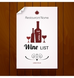 Wine list menu Red and white vector