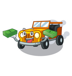 With money bag jeep car toys in shape character vector