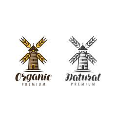 wooden windmill logo or symbol organic natural vector image