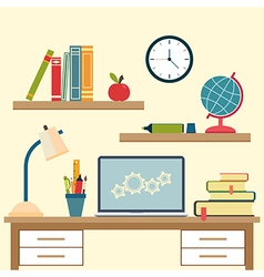 Workplace with high school object and college vector image