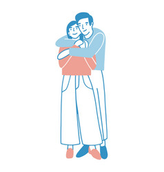 Young man and woman warmly hugging or cuddling vector