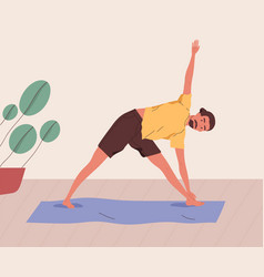 Young man practising yoga at home male character vector