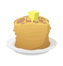 Roasted pancakes with butter icon cartoon style vector