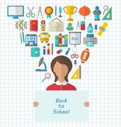 Schoolgirl holds Paper Banner vector image vector image