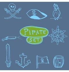 Sketch pirates set Hand drawn vector image vector image