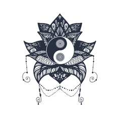 Vintage Yin and Yang in Lotus vector image