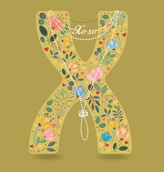 yellow letter x with floral decor and necklace vector image vector image