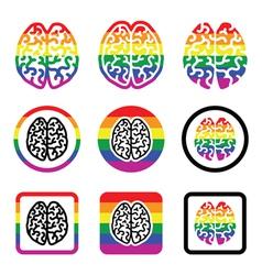Gay Human brain icons set - rainbow symbol vector image vector image