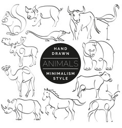 set of animals in hand drawn minimalism style vector image vector image