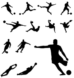 soccer silhouettes set vector image