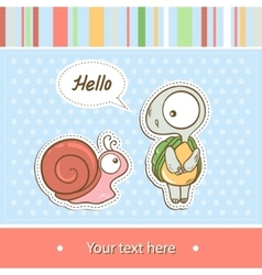with turtle and snail vector image vector image