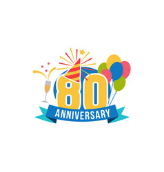 anniversary eighty years number vector image