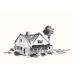 Architect draft house drawn vector