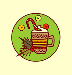 cocoa cup icon merry christmas and happy new year vector image