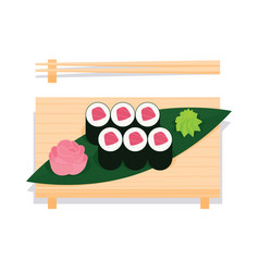 maki sushi with tuna served on wooden board vector image vector image