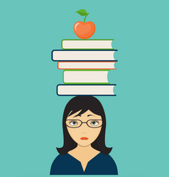 Sad girl with books and apple vector