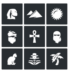 Set of egypt icons sphinx dune sun vector