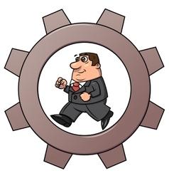 Businessman in cogwheel machine 2 vector image