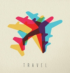 Colorful airplane travel concept background vector image