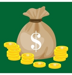 Full sack with golden money isolated coins vector image