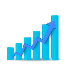 Growing blue graph vector image