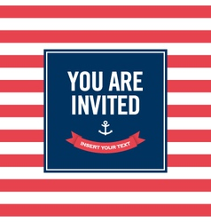Happy birthday invitation card sailor theme vector