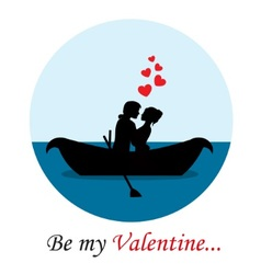 loving couple in a boat vector image vector image