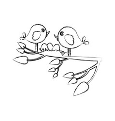 Monochrome sketch of birds and nest in tree branch vector