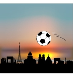 Paris skyline with football ball vector image