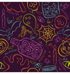Seamless pattern with color halloween ghost skull vector