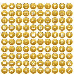100 construction site icons set gold vector image